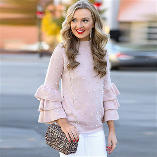 2018 New Pearl Beaded Layered Ruffle Sleeve Cute Women Sweaters and Pullovers