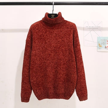 Thick Warm Turtleneck Oversized Chenille Sweaters Long Sleeve Winter Autumn Pullovers