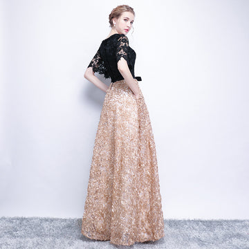 Graceful Noble Patchwork Lace Ruffled Short Sleeve Slim Gown Plus Size Prom Dress With Pockets