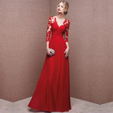 Sexy V-neck Red Lace Gauze See-through Empire Waist Ruffled Slim Gown Evening Dress
