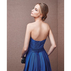 Sexy Off Shoulder Backless Royal Blue Back Zipper Plus Size Gown Ruffled Elegant Solid Prom Dress
