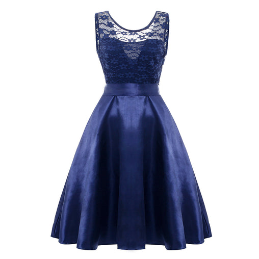 Navy Sexy Lace Patchwork Sleeveless V-back Bowknot Ruffled Plus Size Prom Dress Elegant Gown