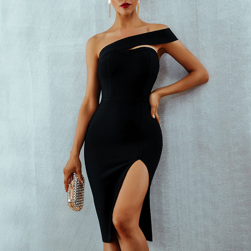 Sexy Bodycon Dress One Shoulder Elegant Backless Split Party Summer Dresses