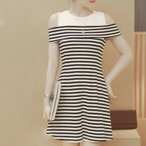 Casual Summer Dress Stripe Cold Shoulder Fashionable Ruffled Plus Size Dresses