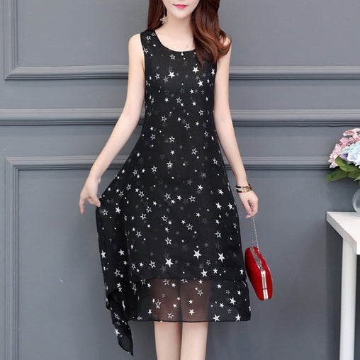 Sleeveless Summer Dress Chic Irregular Star Printed Plus Size Loose Dresses