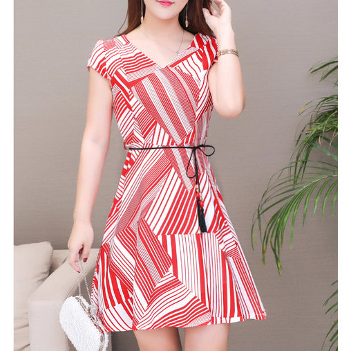 Fashionable Summer Dress Stripe Hollow Out Plus Size Ruffled V-neck Dresses