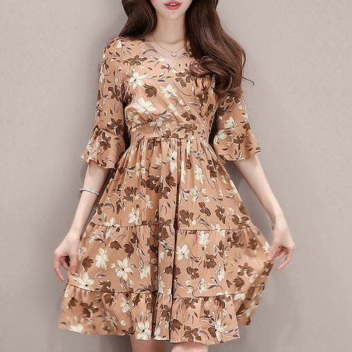 Summer Dress Chic Floral Printed Ruffled V-neck Plus Size Graceful Dresses
