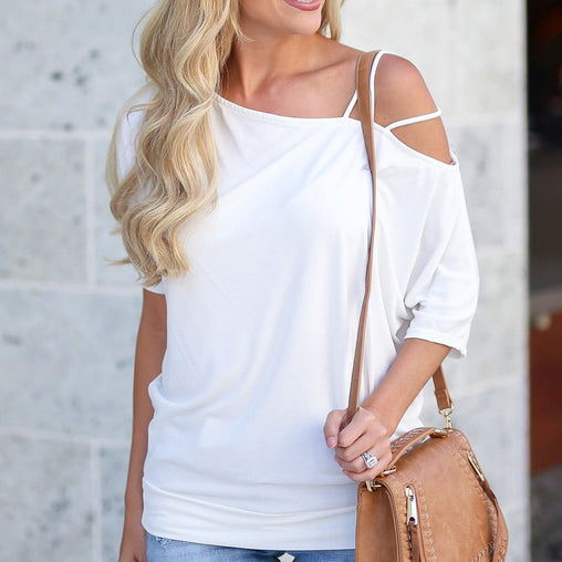 Sexy Woman's T-Shirt  Cold Shoulder Short Sleeve Fashion Tops