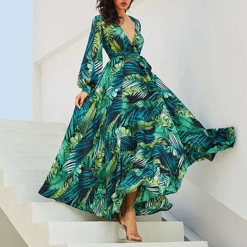 Chic Plus Size Dresses V-neck Leaf Printed Swing Ruffled Dress With Long Sleeve