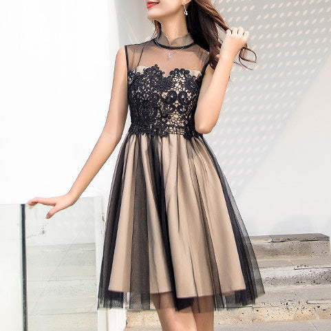 Sexy Dresses Sleeveless Lace Gauze Patchwork See-through Graceful Ruffled Dress