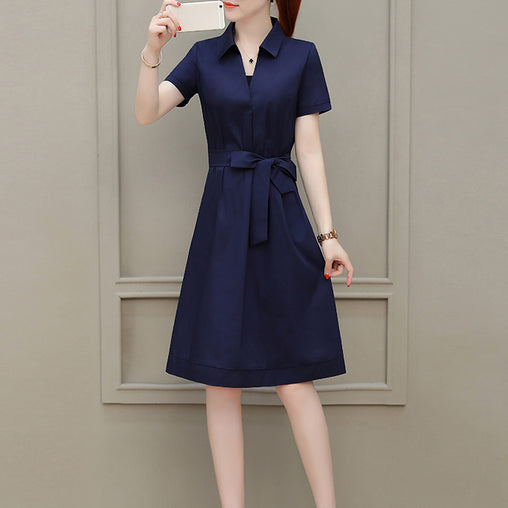 Navy Summer Dress Slim Plus Size Casual Chic Dresses With Pockets