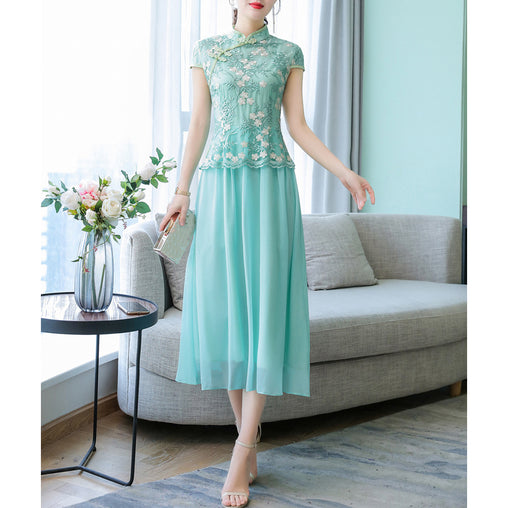 Embroidery Summer Dress Vintage Elegant Back Zipper Plus Size Chinese Dresses