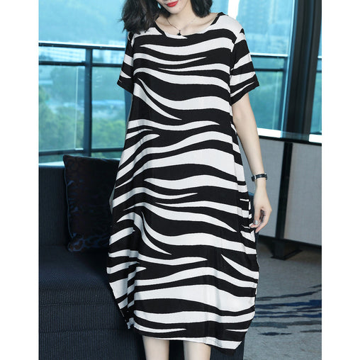 Casual Dresses Plus Size Stripe Comfortable Short Sleeve Summer Dress