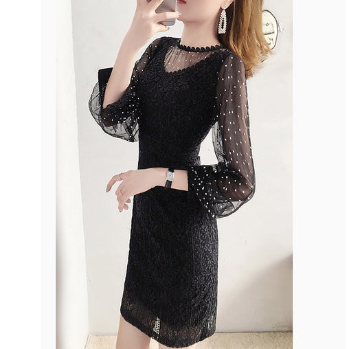 Black Lace Dresses Gauze See-through Fashionable Graceful Slim Summer Dress