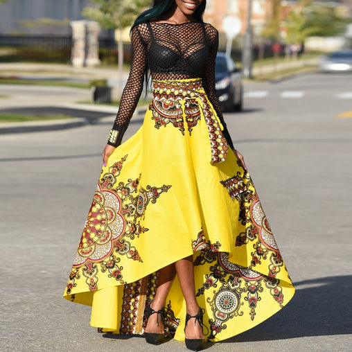 Fashion Summer Dress Swing High Low Irregular Printed Plus Size African Skirt