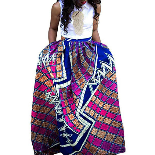 Printed African Skirts Slim Fashion Summer Dress With Pockets