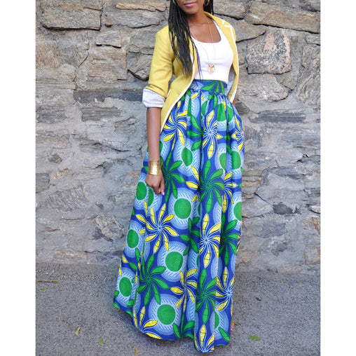 Printed African Skirts Slim Swing Fashion Ethnic Summer Dress