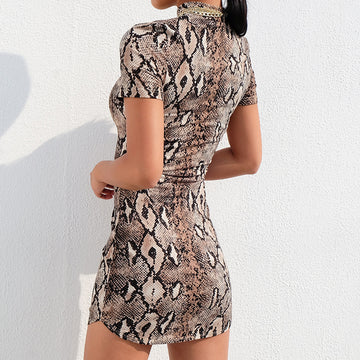 Summer Dress Sexy Snakeskin Printed Tight Short Sleeve Chic Dresses