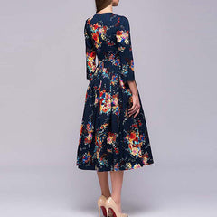 Vintage Summer Dress Floral Printed Slim Plus Size Dresses With Seven-quarter Sleeve
