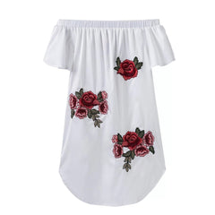 Embroidery Summer Dress Sexy Off Shoulder Fashion Floral Dresses