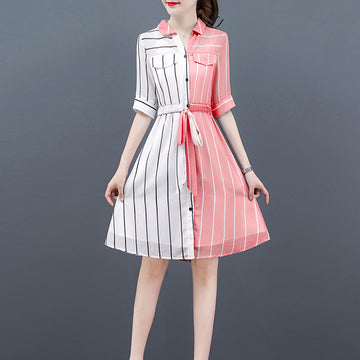 Popular Summer Dress Stripe Fairy Buttoned Fashion Slim Short Sleeve Dresses