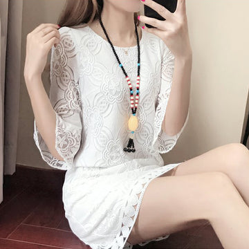 Lace Dresses Chic Cut Out Graceful Plus Size Summer Dress With Seven-quarter Sleeve