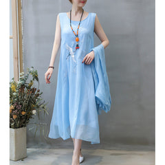 Elegant Summer Dress Two Pieces Vintage Plus Size Gauze Embroidery Dresses