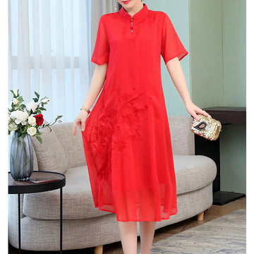 Vintage Dresses Embroidery Silk Graceful Short Sleeve Elegant Summer Dress