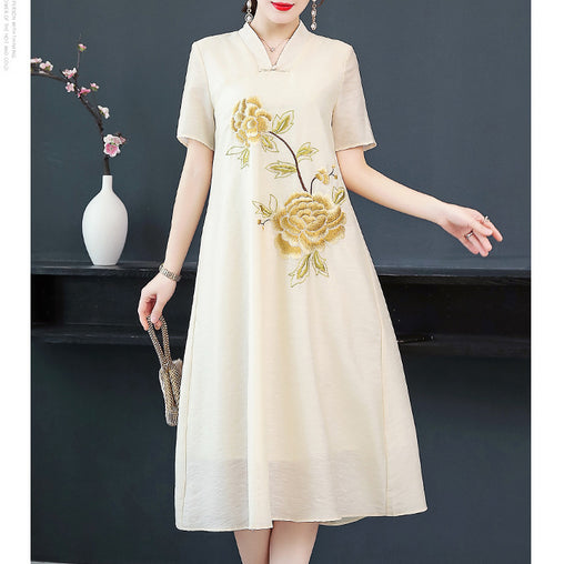 Apricot Graceful Dresses Vintage Floral Embroidery Plus Size Ethnic Summer Dress