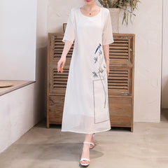 Embroidery Graceful Summer Dress Vintage Short Sleeve Comfortable Dresses