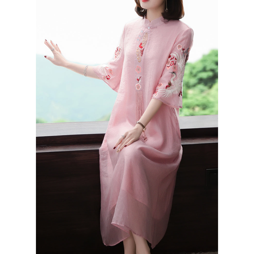 Pink Embroidery Dresses Elegant Vintage Graceful Stand Collar Chiffon Summer Dresses