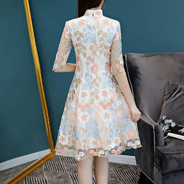 Elegant Embroidery Dresses Vintage Graceful Ethnic Comfortable Summer Dress