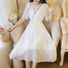 Fairy Summer Dress Embroidery Chiffon Vintage V-neck Dresses With Short Sleeve