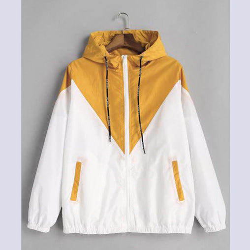 Spring Autumn Fashion Woman Hooded Two Tone Windbreaker Zipper Pockets Casual Jacket