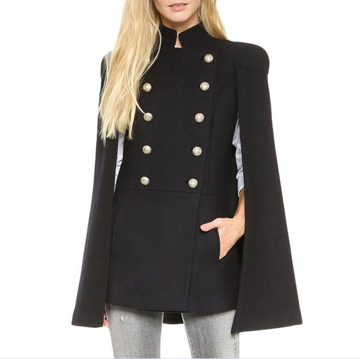 Fashion Winter Black Double Breasted Cloak Cape Coat