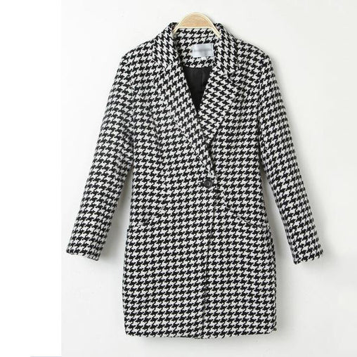 Fall/Winter Suit Collar Plus Size Black/White Plaid Long Woolen Coat