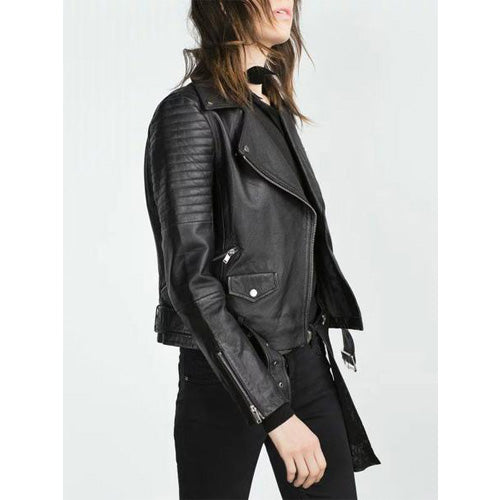 Black Fall/Winter Lapel PU Faux Leather Zipper Biker Jacket