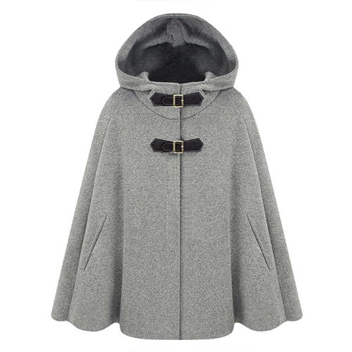 Winter Wool Blend Cape Cloak Hooded Coat