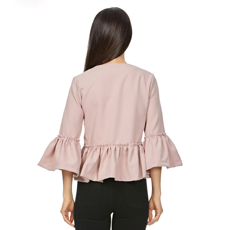 Women Short Sweet Ruffles Open Stitch Flare Sleeve Solid Jackets