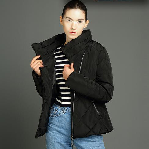 Spring Autumn Warm Winter Women's Solid Cotton Outerwear Jackets