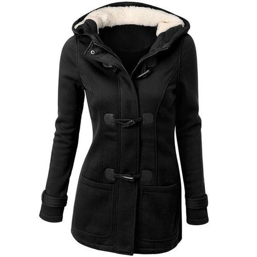 Spring Autumn Women's Long Hooded Zipper Horn Button Trench Coats