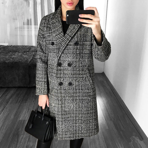 Winter Women Casual Lattice Double-Breasted Long Plaid Coats