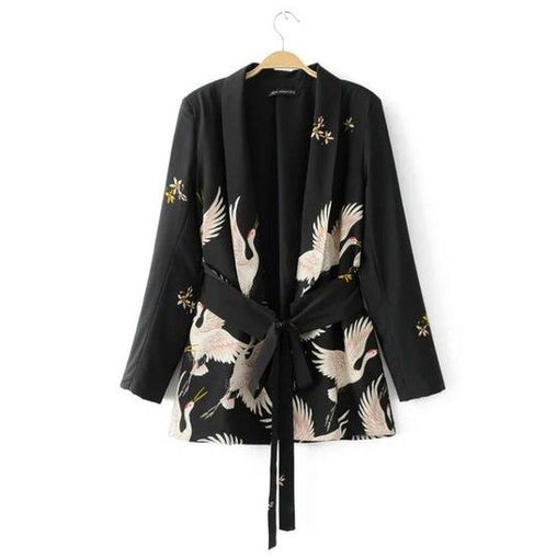 Women Fashion Vintage Retro Loose Animal Crane Print Kimono Jackets