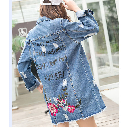 Woman Floral Embroidery Spring Long Ripped Denim Jean Jackets