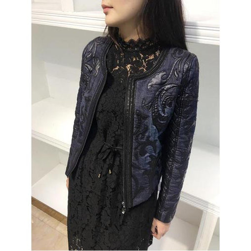 Autumn Winter Denim Women Short Round Neck PU Slim Retro Plot Jackets