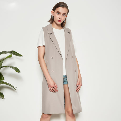 2018 Spring Autumn Women Casual Solid Sleeveless Cardigan Long Coats
