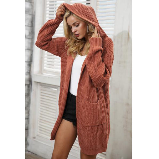 Woman's Hooded Knitting Long Cardigan Back Lace Up Sweater Warm Knitted Pocket Outerwear