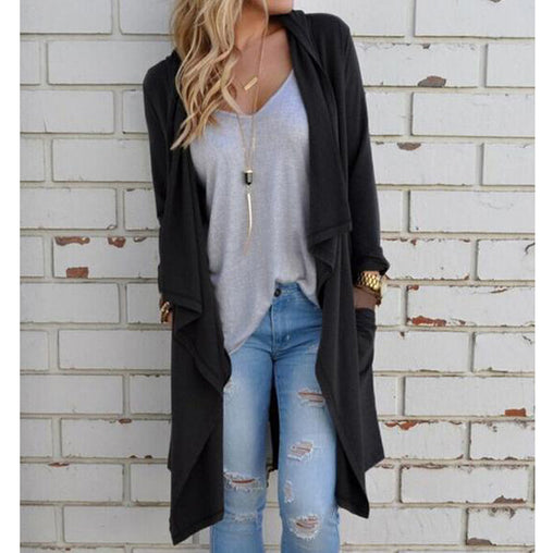 Women Cardigan Autumn Long Sleeve Irregular Long Thin Sweater Loose Slim Elegant Outerwear