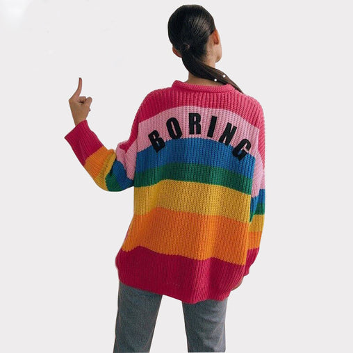 2018 New Fashion Women Rainbow Oversized Cardigan Long Knitted Sweater