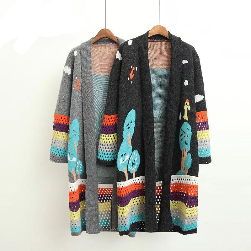 2018 Autumn Winter Long Cardigans Women Cute Poncho Sweaters